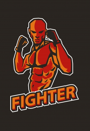 male boxer: martial art fighter  Illustration
