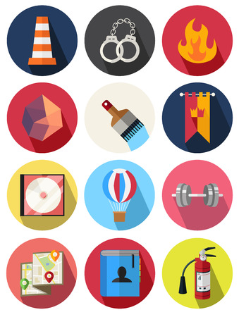 fire safety: round icons 19