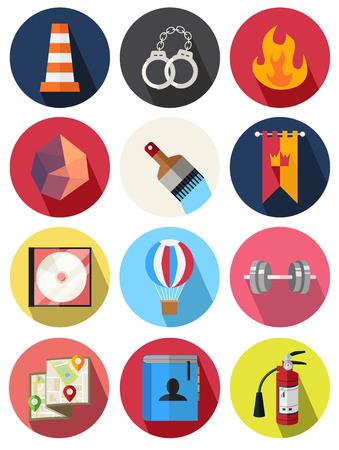 fire extinguisher: round icons 19