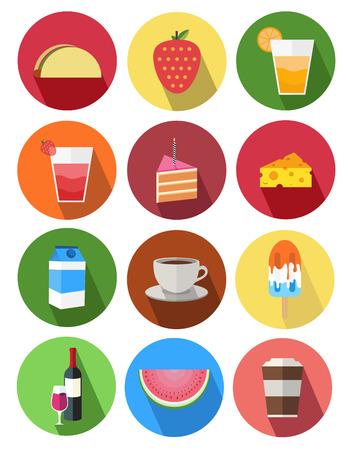 rebanada de pastel: icono redondo 4 alimentos