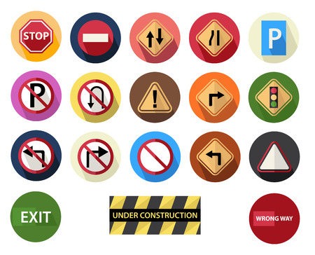with stop sign: traffic sign round Illustration