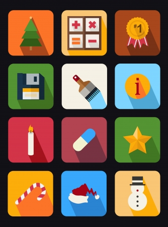 flat icons set 9 Illustration