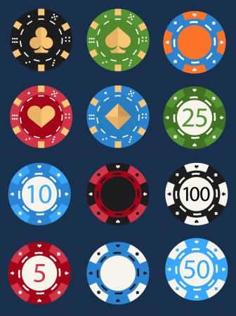 fichas casino: barcos de póquer Vectores