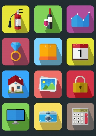 flat icons set 3 Ilustrace