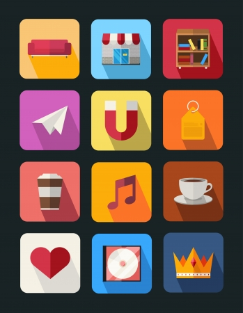 flat icons set 5 Illustration