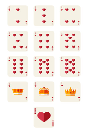 hearts playing card set Illustration