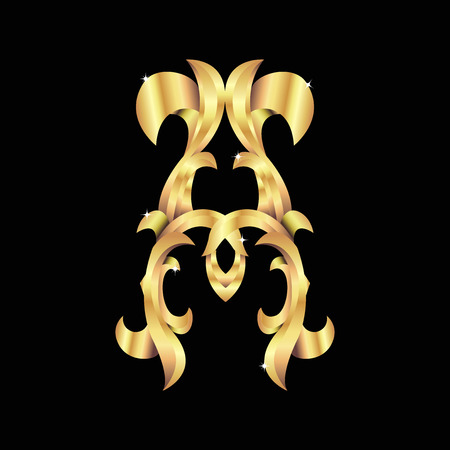 gold baroque monogram