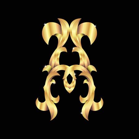 gold baroque monogram