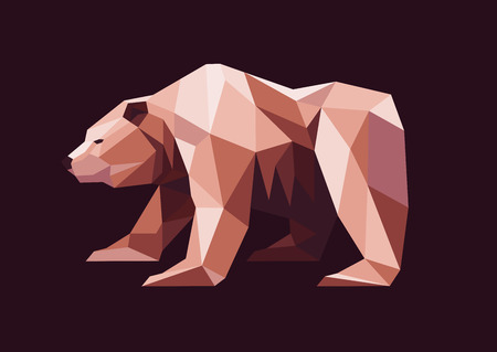 low polygonal grizzly bear Illustration