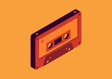 cassette tapes isometric design