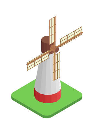 windmill isometric design Illustration