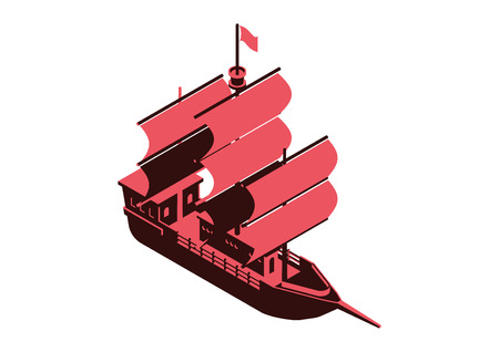 sailing ship isometric vector design