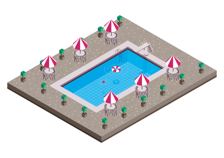swimming pool isometric vector design Illustration