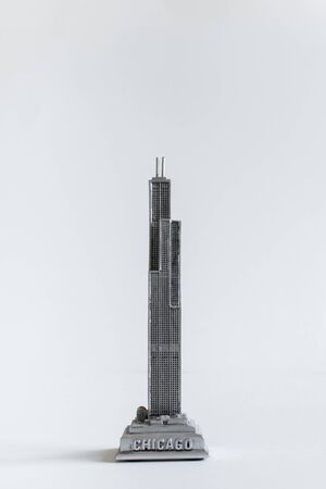 Sears tower scale model on white background