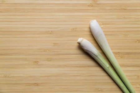 Lemon grass on wooden board