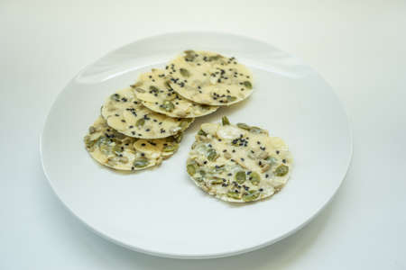 Traditional Malaysian cookies snack over white background
