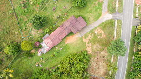 Aerial view of village house