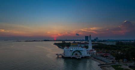 Selat Melaka Mosque aerial view during sunset