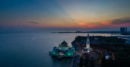 Selat Melaka Mosque aerial view during sunset