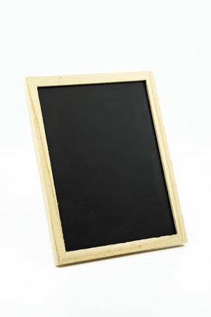 Tripod standing small blackboard isolated on white background. Banco de Imagens