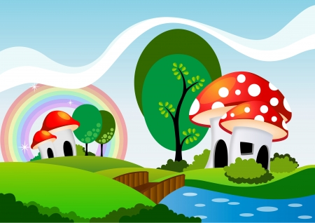 dream land: mushrooms cartoon  Illustration