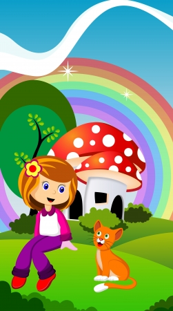 dream land: daughter and a cat in front of a mushroom house