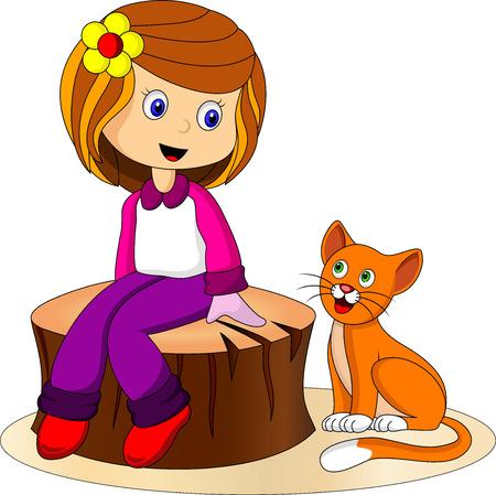 gato caricatura: Muchacha y gato de dibujos animados lindo Vectores