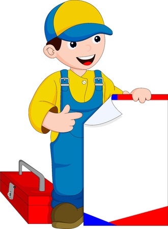 dungarees: mechanic with bulletin board