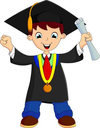 toga: niño feliz después de su graduación Vectores
