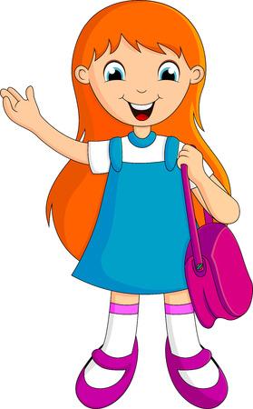 Cute child girl Back To School  Illustration