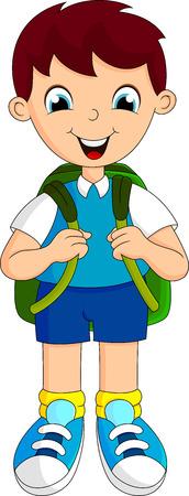 男の子はバックパックで学校に行った  イラスト・ベクター素材