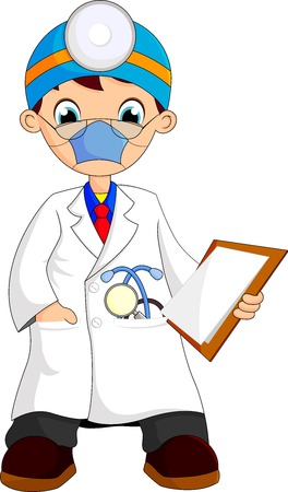 kid doctor cartoon Vector