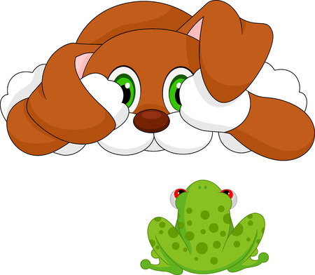 tree frogs: dog and frog cartoon  Illustration