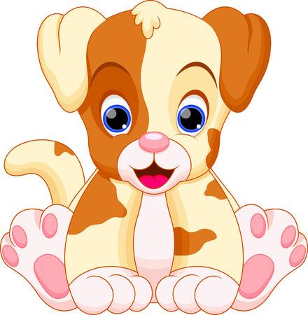 강아지는 귀엽고 사랑 스럽다 일러스트