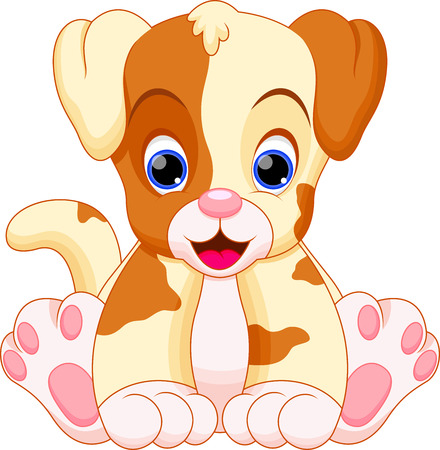 puppy is cute and adorable Vector