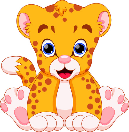 leopard cat: Cute cheetah baby cartoon Illustration