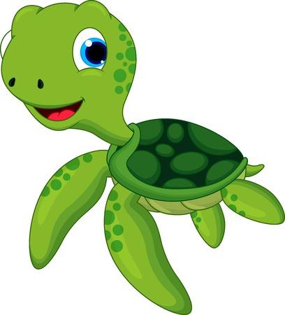 aquatic reptile: Happy turtle cartoon Illustration