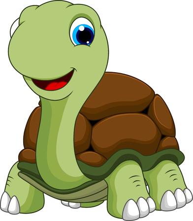 mano cartoon: Carino cartone animato tartaruga Vettoriali