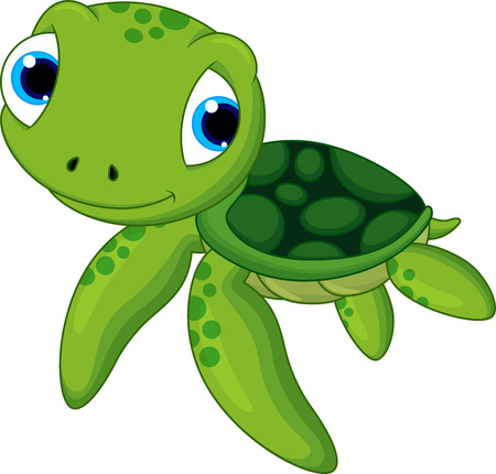 baby sea turtle cartoon  Vector