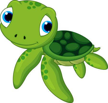 dítě mořská želva kreslená Ilustrace