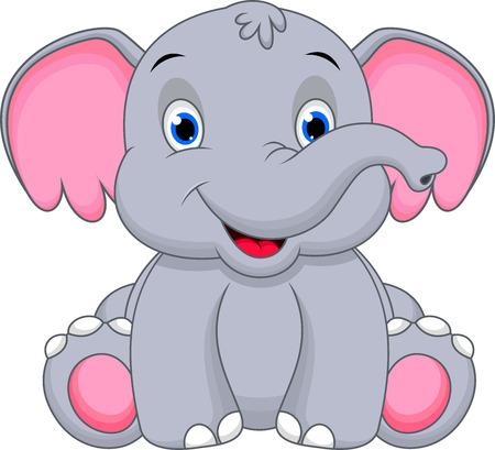 elefantes: Cute dibujos animados bebé elefante