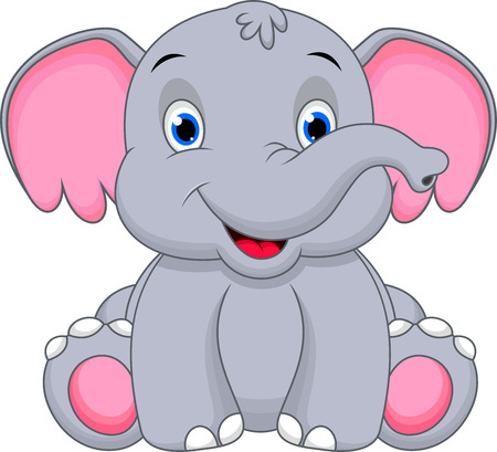 Leuke cartoon baby olifant Stock Illustratie