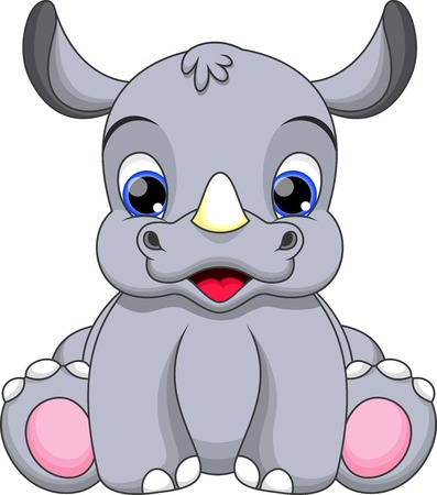 one animal: Cute baby rhini cartoon