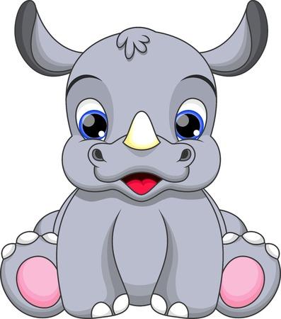 nashorn: Cute Baby Rhini Karikatur