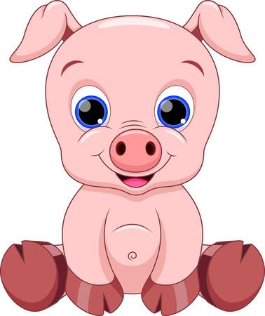 귀여운 아기 돼지 만화 일러스트