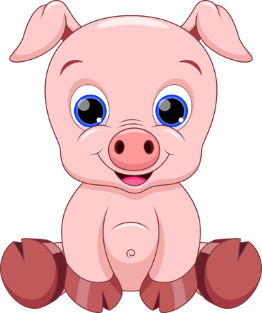 Cute baby pig cartoon 版權商用圖片 - 25397408