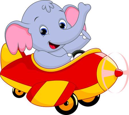 elephant riding a plane  Vector