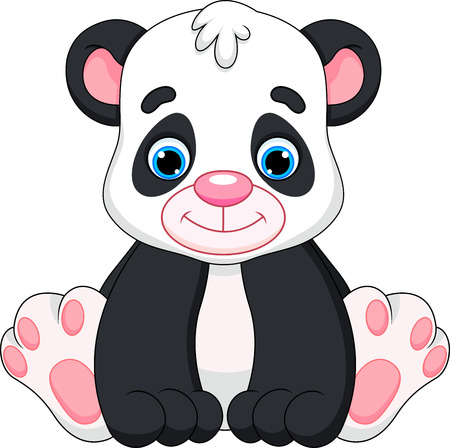 cute baby panda cartoon  Vector