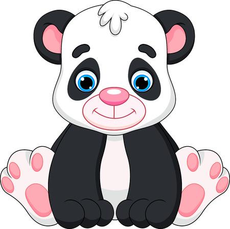 oso panda: lindo bebé de la historieta de la panda Vectores