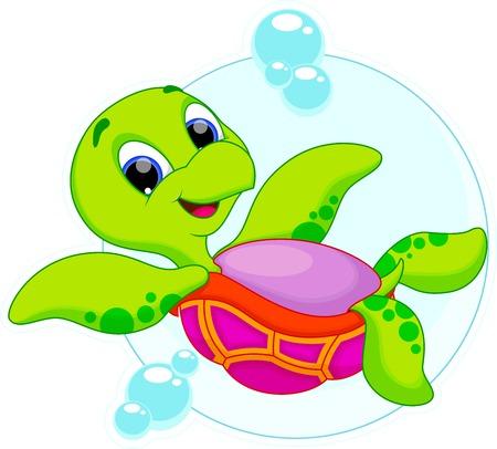 De dibujos animados lindo de la tortuga Foto de archivo - 27783517
